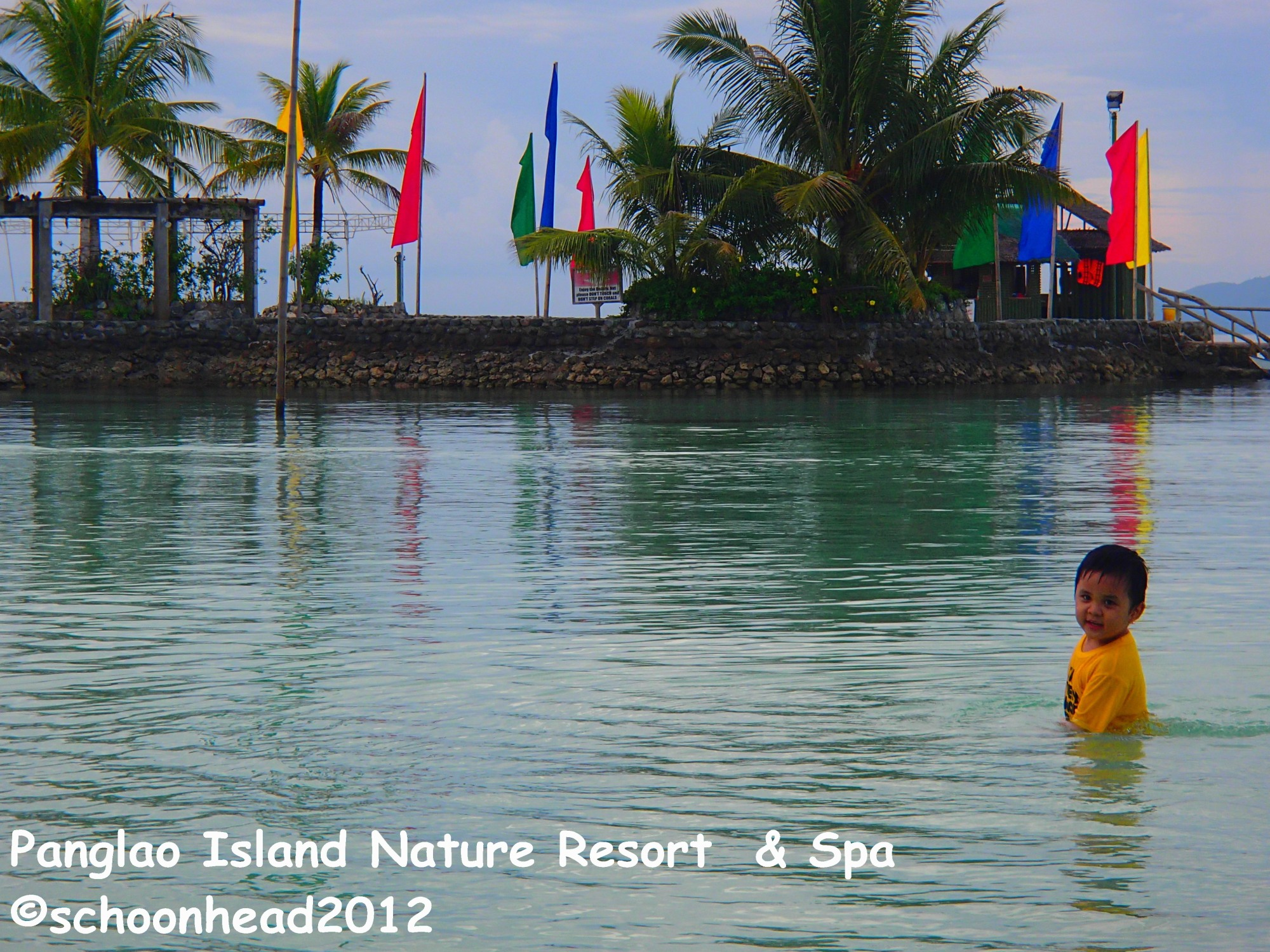 That's my nephew following my father to the man-made island.